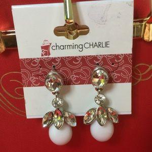 ♥️3/15 ❤️ Charming Charlie white rhinestones  nwt